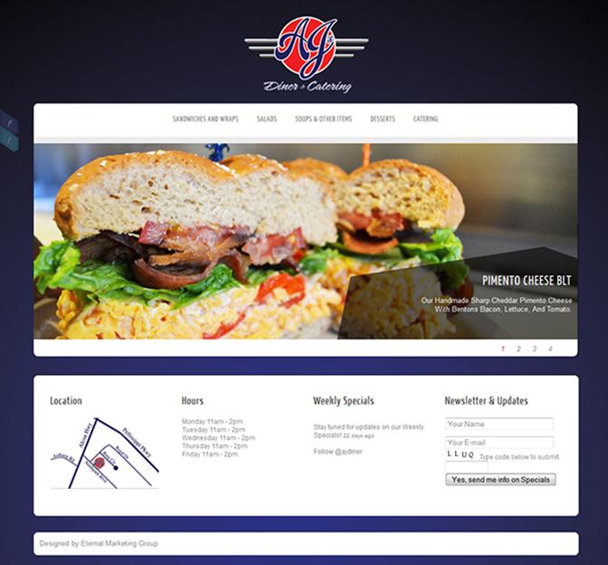 AJ's Diner Website